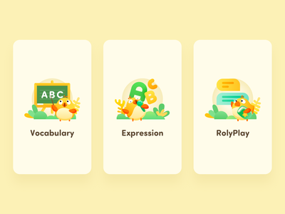Loading Screen for RUOK K12 screen loading rolyplay expression vocabulary chook chicken kids k12 education icon illustrator flat search dictionary app ui