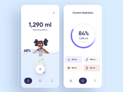 Water Drinking Reminder App filter dashboard stats hydration cards product graphs chart minimal 3d water reminder food card ios ux interface app ui