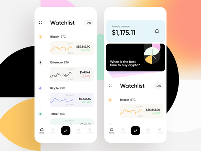 Cryptocurrency Exchange App wallet trading finance cash exchange bitcoin cryptocurrency geometric colorful graphs menu balance list charts cards ios ux interface app ui