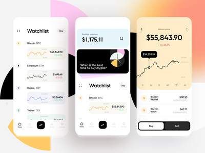 Cryptocurrency Exchange App gradient graphs cryptocurrency exchange bitcoins banking finance fintech bitcoin chart 3d stats mobile minimal ios ux interface app ui
