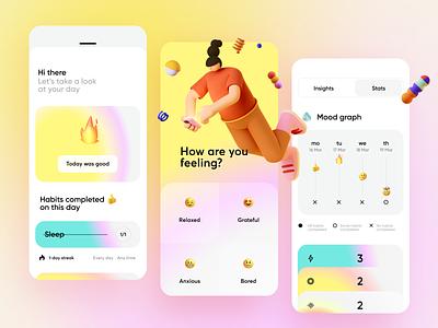 Habit Tracker App monitoring productivity activity design emoji health meditation habits list calendar 3d minimal ios ux interface app ui