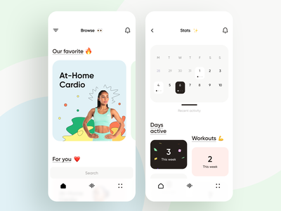 Fitness & Workout App activity stats cards calendar personal trainer coach weight running yoga gym workout fitness draft illustration minimal ios ux interface app ui