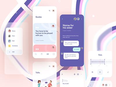 Govoroon App geometric blur gradients colorful colors kid socialmedia childrren social messenger create quotes chat cards minimal ios ux interface app ui