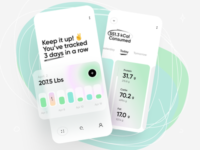 Calorie Counter App tabs colors gradient workout cards food fitness logging health nutrition diet calorie chart stats minimal ios ux interface app ui