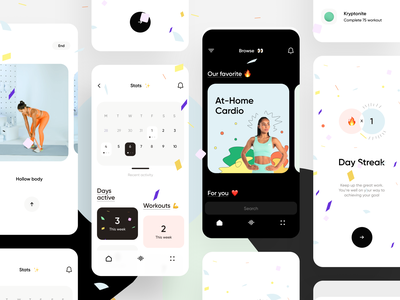 Fitness & Workout App empty screen dark draft colorful cards stats ios ux interface app ui illustration minimal personal trainer yoga calendar gym workout