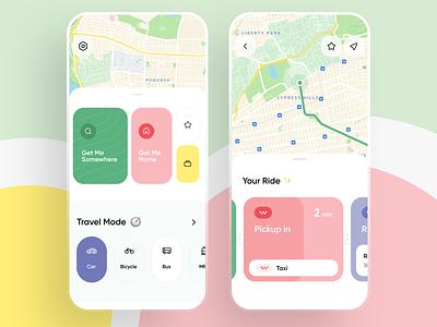 Navigate App public transport location subway route progress taxi colorful navigation car city transport routes map cards minimal ux ios interface app ui