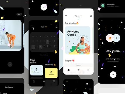 Fitness & Workout App workout gym calendar yoga personal trainer minimal illustration dark ui ios app interface ux ios stats cards colorful draft dark empty screen