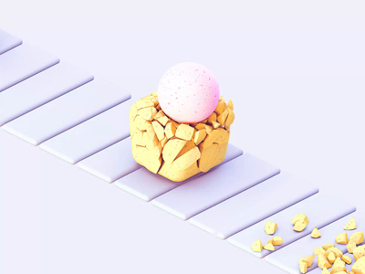 Balls #3 balls conveyor destruction loop 3d illustration