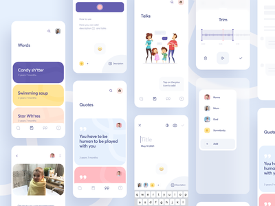 Govoroon App recorder talks words quotes tasks notes kid reminder messenger list colors colorful cards illustration ux ios minimal interface app ui