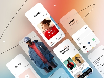 Ecommerce App filter ui app interface ios minimal store product e commerce fashion clothes clean gradients ecommerce brand e-commerce colorful colors line list