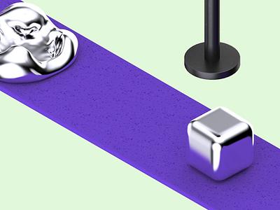 Small Fix product design edit destruction conveyor soft melting cube digitalart hydraulic press abstract c4d cinema4d 3d art animation 3d illustration minimal