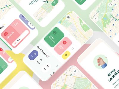 Navigate App navigation design 3d app minimal walk ride road trips alerts traffic taxi dashboard cards navigate map route ui interface ios