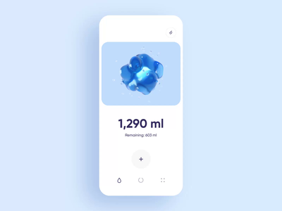 Water Drinking Reminder App walkthrough interaction motion graphics stats dashboard card onboarding product animation food hydration workout minimal design illustration 3d ios interface app ui
