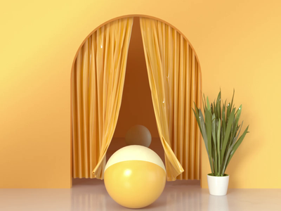 Cloth&Balls art gif yellow abstract product design octane render motion animation motion graphics loop colorful balls cloth cinema4d c4d minimal branding illustration 3d