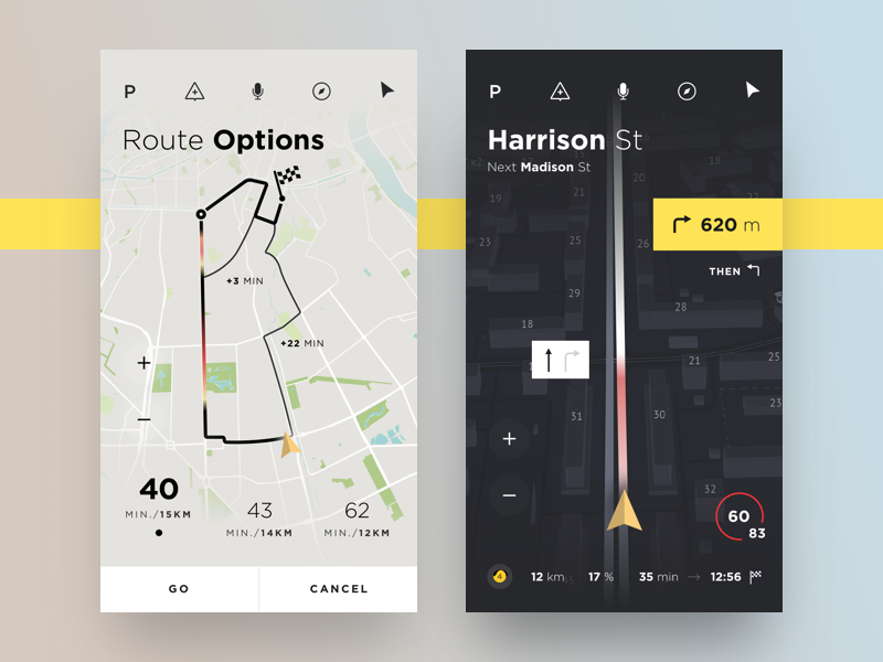 Car Navigation track map perspective concept yandex app ux ui ios car route navigation