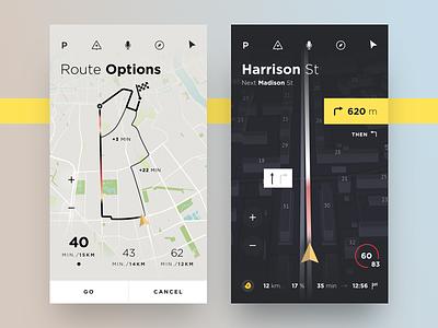 Car Navigation track map perspective concept yandex app ux ui ios car route navigation