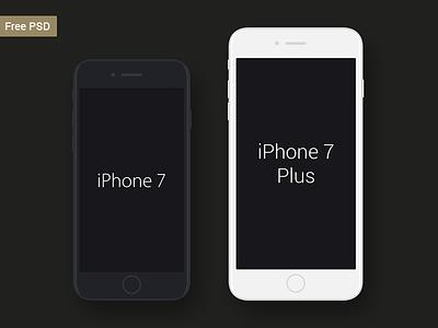 Free iPhone 7 & iPhone 7 Plus Mockup vector ux ui mobile logo ios illustration graphiс flat design branding app