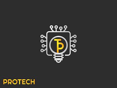 Protech Logo | Branding flat icon minimal logo design branding