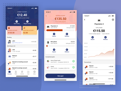 Poklet app design savings account dashboard bank fintech finance app financial