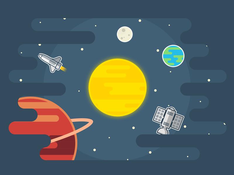Wall decoration dribbble invite invitation contest flat planet rocket earth space illustration