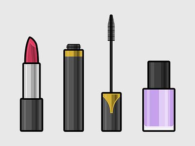 Make up tools polish nail lipstick cosmetics up make girl illustration flat