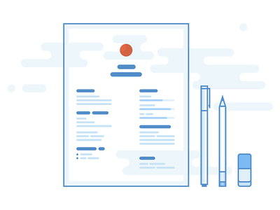 CV illustration icon blue paper eraser pen redefinio cv resume personal