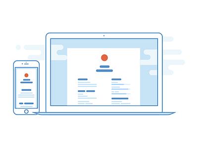 CV illustration 3 macbook iphone icon mobile desktop responsive redefinio cv resume personal