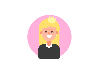 Blond girl character smile happy card birthday profile crown princess girl woman avatar flat