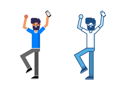 Bearded guy illustration excited happy beard man character flat