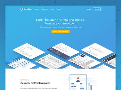 Redefinio product page sign up beta ui resume cv design web blue flat landing