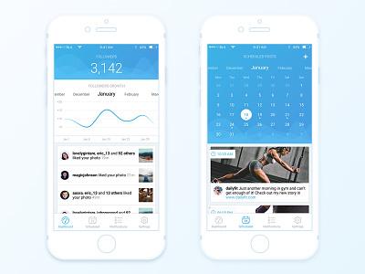 Instagram manager app schedule scheduling iphone instagram blue graph light application ux ui calendar dashboard