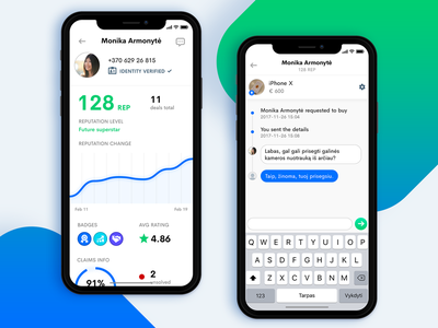 Monetha app timeline messages messenger chat profile chart green blue app iphone iphonex