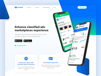 Monetha website blue hero mockup angle iphone app website web ico crypto