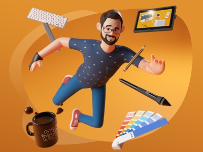 Floating 3d wacom cintiq pantone blender3d 3dillustration design