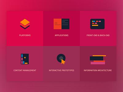 Development icons icons flat svg platform application front-end back-end content interactive information architecture