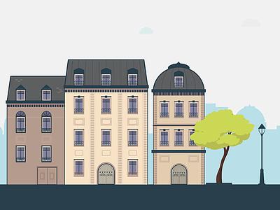 Paris illustration illustration paris haussmannian city buildings vector tree city lights