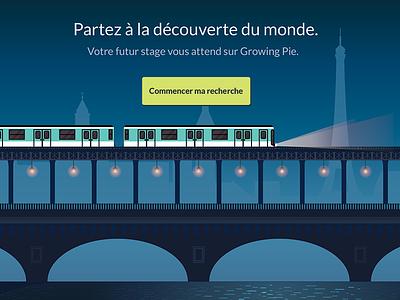 Growing Pie - French Metro website vector bridge train metro growing pie illustration