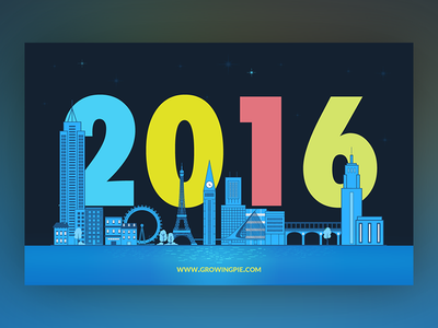 New Year's Wishes colorful illustration design 2016 card wishes new year