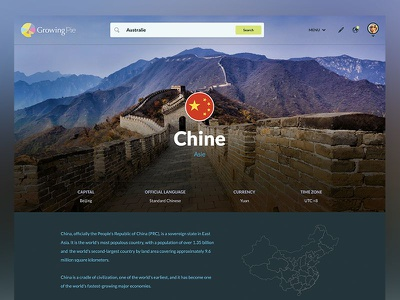 Country page user generated content comments knowledge search student navigation city ux clean