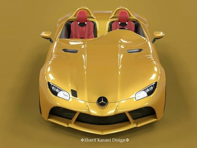 Mercedes Benz SLR Stirling Moss Front Redesign By: Sharif Kanani yellow sunbeam luxury render cardesign sharifkanani designer automobile design automotive cars mercedes-benz mercedes