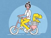 Joy Ridin' happy friendship bicycle biker doggy doggo character design illustration