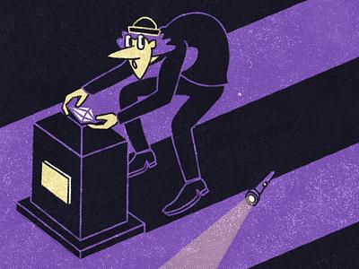 Thief character design character illustration diamond thief sneak