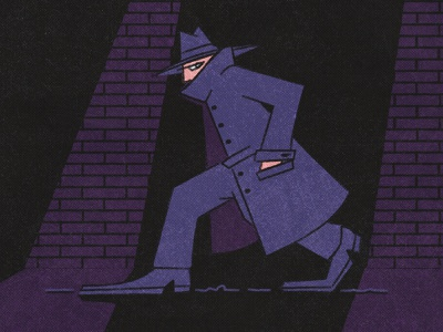 Spy stealth secret agent lowlight agent spying coat illustration character design detective hat