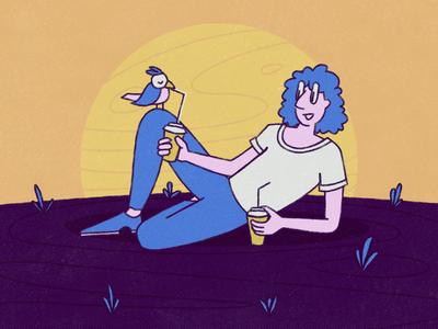 Chillin' birdy bird drinking friends doodle cartoon illustration hanging character design illustration