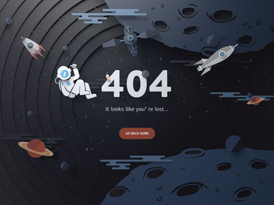 404 page astronaut spaceship space lost error 404
