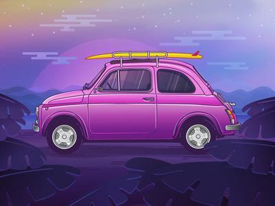 Fiat 500 affinity designer beach surf car illustration