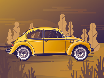 VW Käfer affinity designer sunset volkswagen vector art käfer illustration car