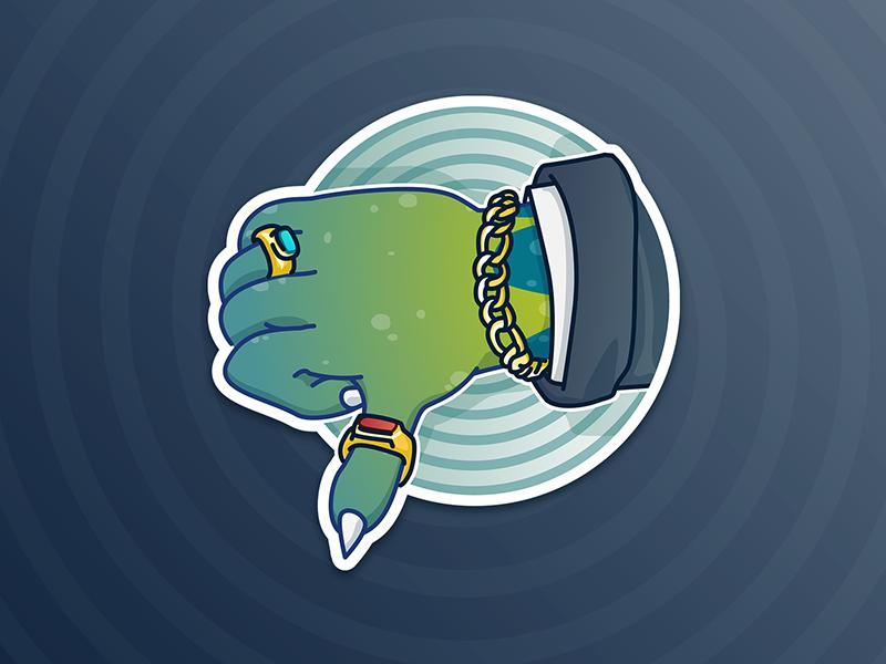 Dislike - Lizardman sticker pack character design illustration thumbs down funny reptilian conspiracy theory
