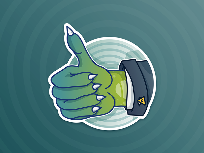 Thumbs up - Lizardman sticker pack conspiracy theory reptilian funny like illustration character design
