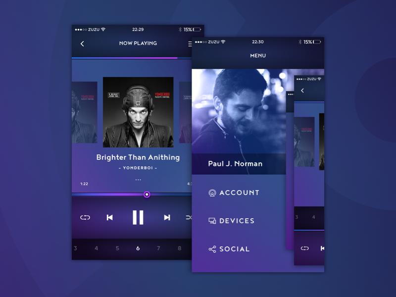 Music app mobile menu album playlist player